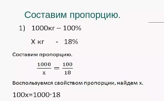 формула пропорции